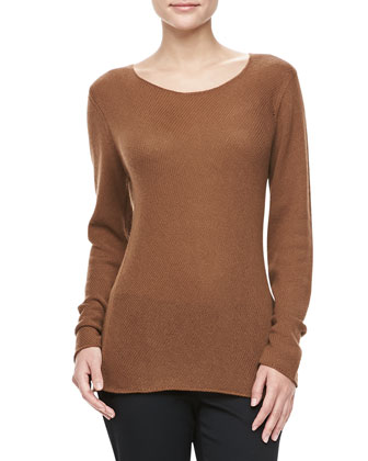 Bias-Knit Cashmere Sweater, Saddle