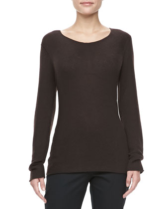 Bias-Knit Cashmere Sweater, Chocolate