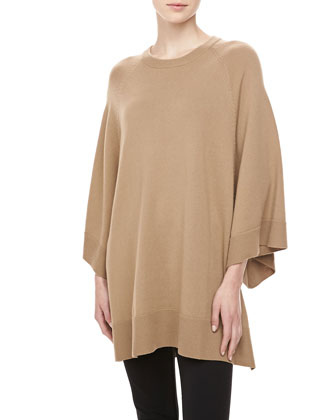 Cashmere Scoop-Neck Poncho, Fawn