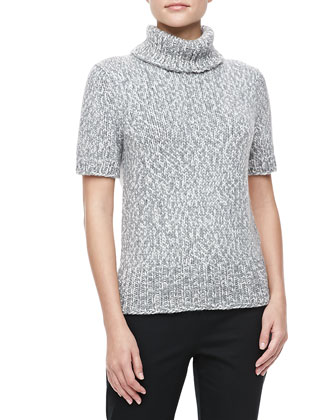 Marled Short-Sleeve Turtleneck, Banker Multi