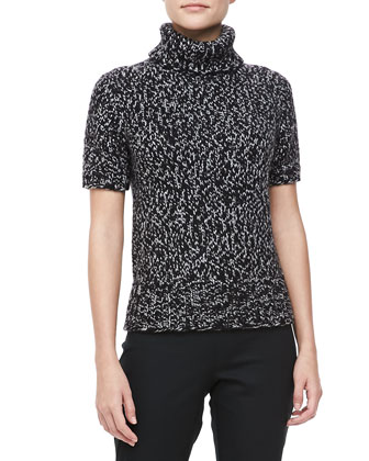 Marled Short-Sleeve Turtleneck, Banker