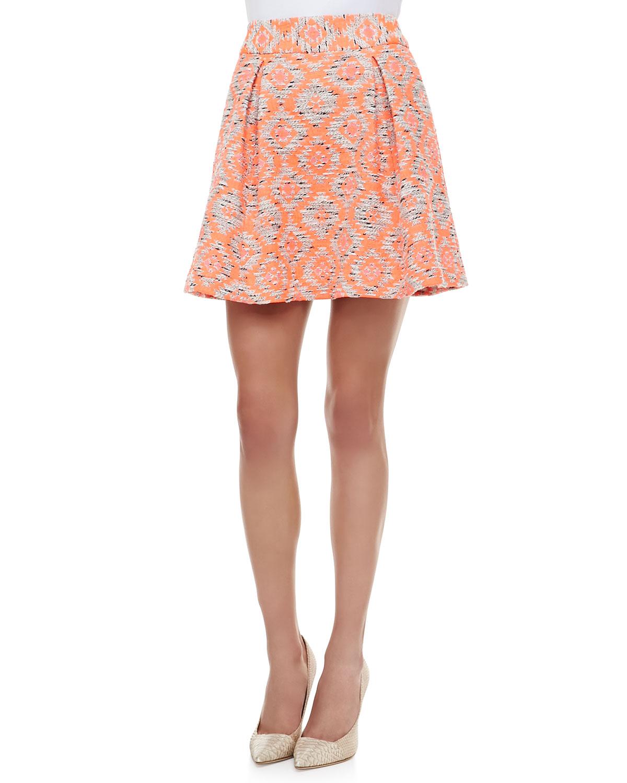 Womens Wildcat Tribal Print Pleated Peplum Skirt   Nanette Lepore   Coral (8)