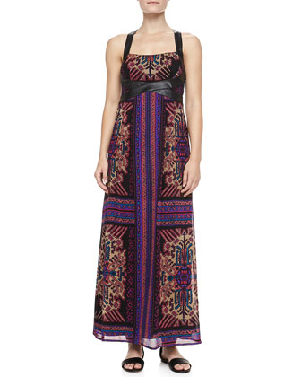 Sun Dance Leather-Trim Maxi Dress
