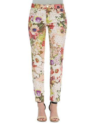 Five-Pocket Floral Print Jeans, Multicolor