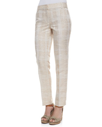 Harp Textured Straight-Leg Pants