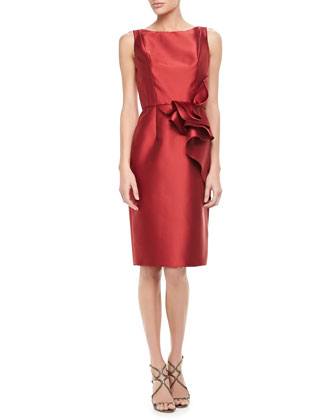 Sleeveless Ruffle-Waist Cocktail Dress, Red