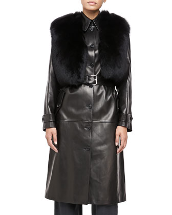 Fur-Collar Plonge Calfskin Leather Trench