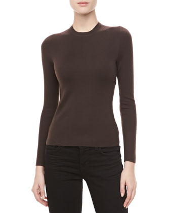 Long-Sleeve Cashmere Sweater, Chocolate