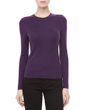 Long-Sleeve Cashmere Sweater, Blackberry