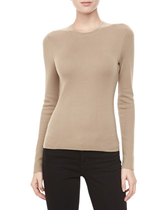 Long-Sleeve Cashmere Sweater, Fawn