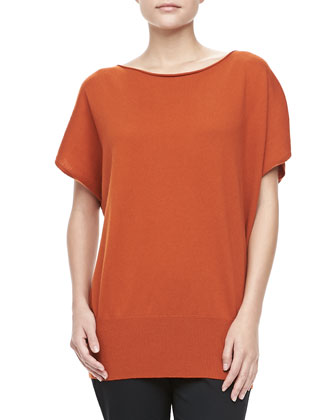 Boat-Neck Cashmere Top, Paprika
