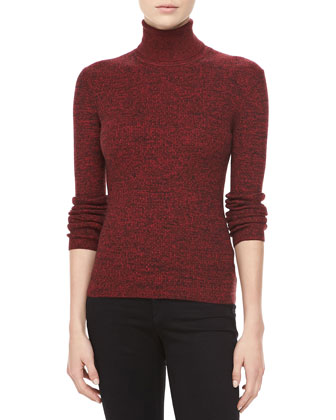 Marled Cashmere Long-Sleeve Turtleneck, Crimson