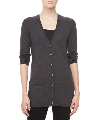 Cashmere V-Neck Cardigan, Charcoal