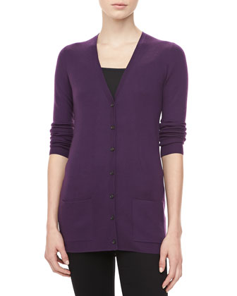 Cashmere V-Neck Cardigan, Blackberry