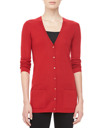 Cashmere V-Neck Cardigan, Crimson