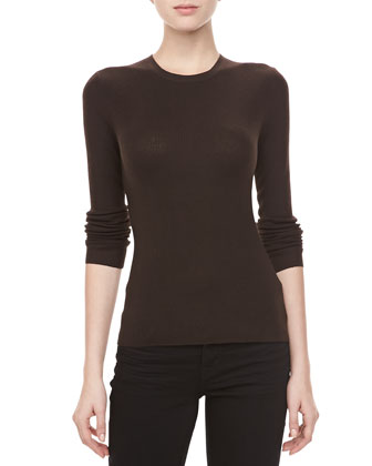 Cashmere-Blend Crewneck Long-Sleeve Sweater, Chocolate