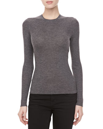 Cashmere-Blend Crewneck Long-Sleeve Sweater, Banker
