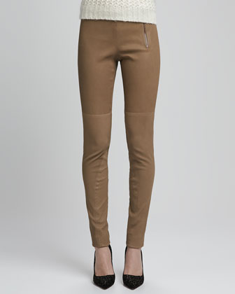 Redell Side-Zip Leather Pants, Dark Sand