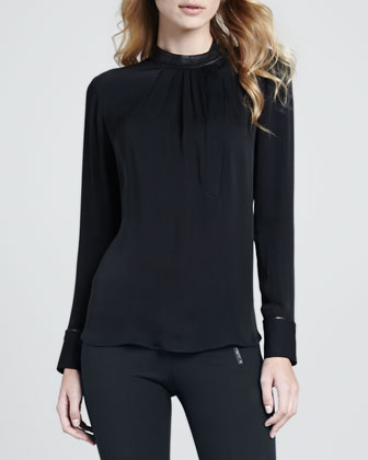 Kyna Leather-Trim Blouse & Redell Side-Zip Skinny Pants