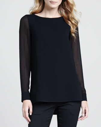 Toska Sheer-Sleeve Blouse
