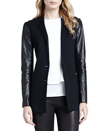 Lavey Leather-Sleeve Blazer