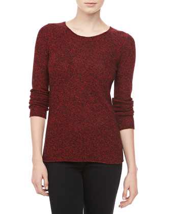 Marled Cashmere Sweater, Crimson
