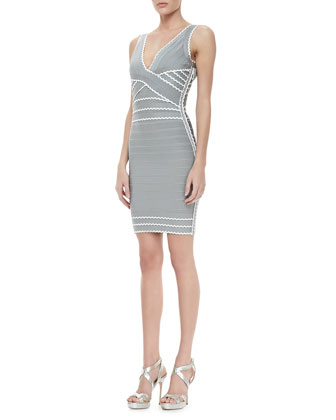 Contrast-Scallop Bandage Dress