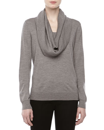 Long-Sleeve Cowl-Neck Sweater, Banker