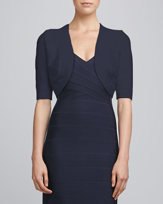 Bandage-Trim Shrug & Cut-In Bandage Dress, Pacific Blue