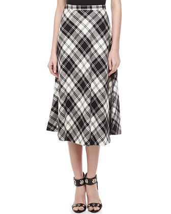 Fairfax Plaid A-line Skirt, Black/Ivory