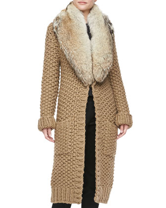 Hand-Knit Long Fur-Collar Cardigan
