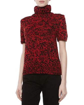 Airspun Short-Sleeve Turtleneck, Crimson