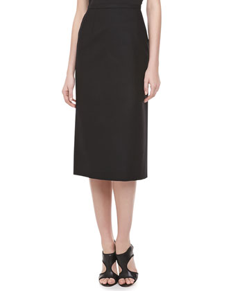 Long Felt Pencil Skirt, Black