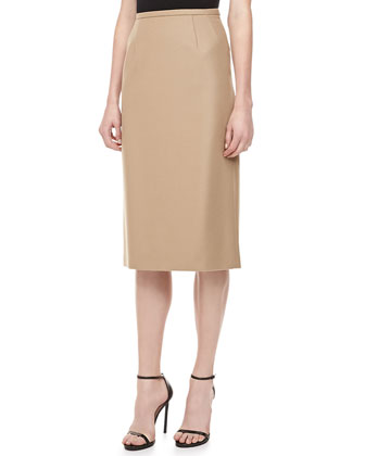Long Felt Pencil Skirt, Fawn