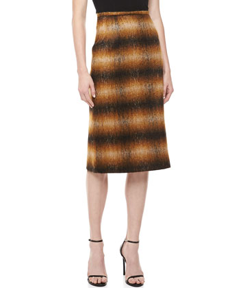 Ombre Plain Pencil Skirt, Chocolate