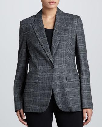 Lynden Flannel One-Button Blazer