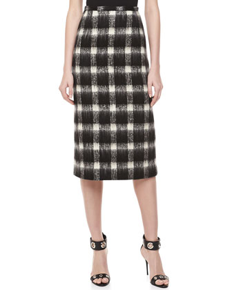 Brushed Check Pencil Skirt, Black/Ivory