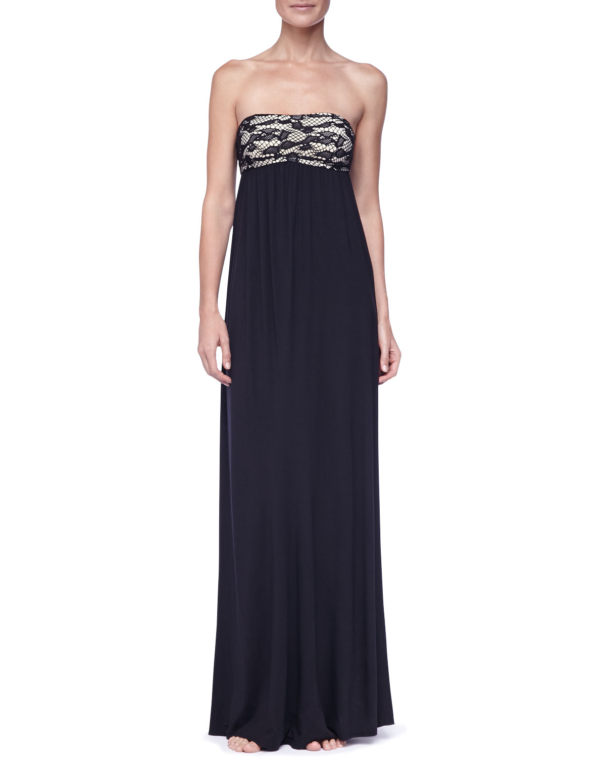 Womens Strapless Empire Waist Maxi Dress   Luxe by Lisa Vogel   Onyx (LARGE)