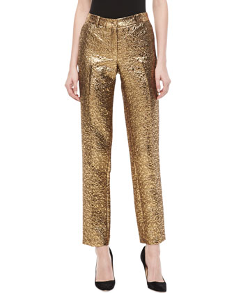 Samantha Pebble Brocade Skinny Pants