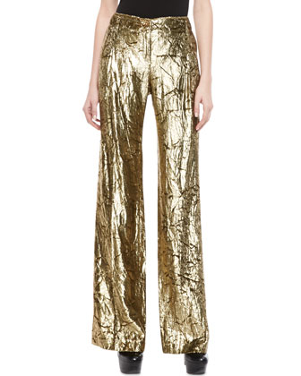 Metallic Velvet Wide-Leg Pants