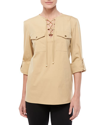 Poplin Lace-Up Shirt