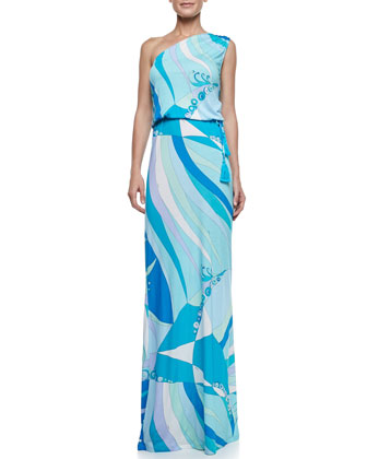 Fenice-Print One-Shoulder Long Dress