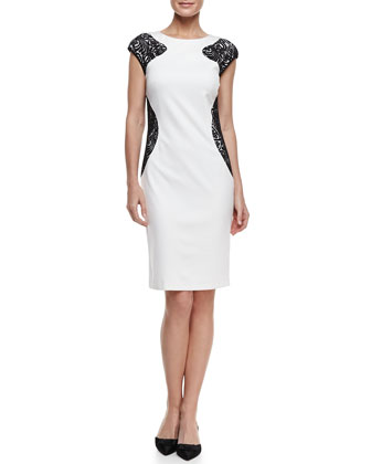 Cap-Sleeve Lace-Panel Ponte Dress