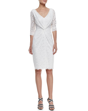 3/4-Sleeve V-Neck Lace Dress, Snow