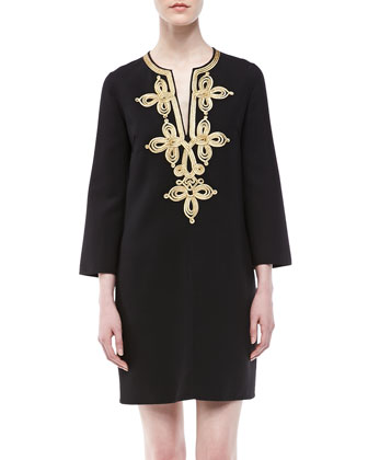 Embroidered Crepe Tunic Dress