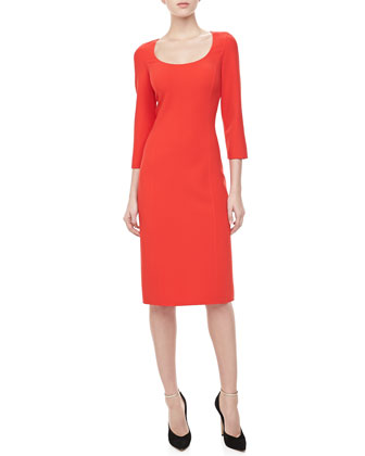 3/4-Sleeve Crepe Sheath Dress, Coral