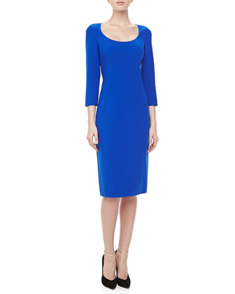 3/4-Sleeve Crepe Sheath Dress, Sapphire
