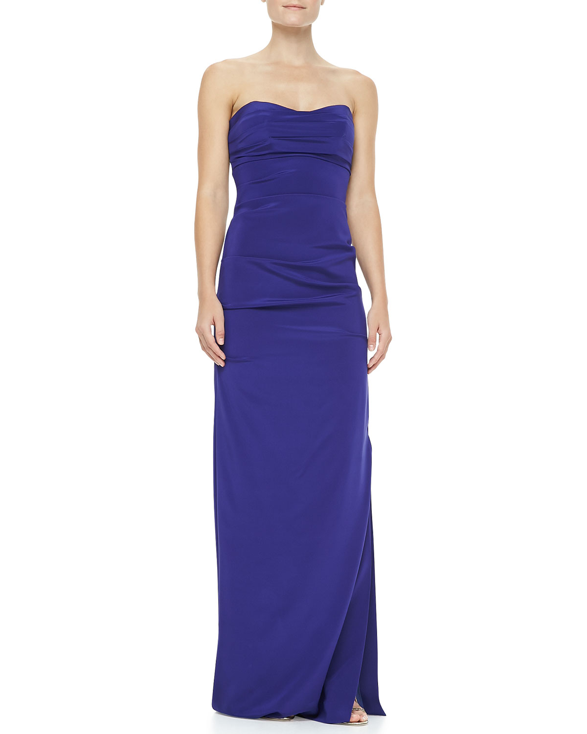 Womens Ruched Strapless Stretch Silk Gown   Nicole Miller   Electric blue (0)