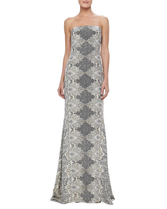 Strapless Animal-Print Gown