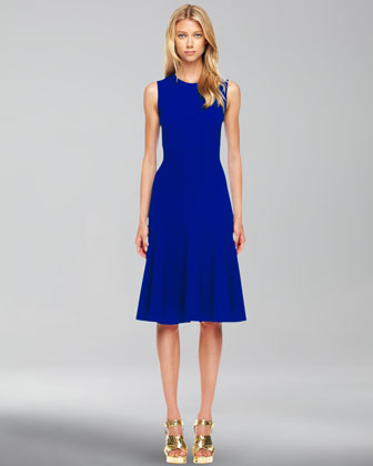 Wool-Crepe Flared Dress